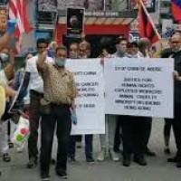 न्यूयॉर्क में कई देशों के नागरिकों ने किया चीन के खिलाफ प्रर्दशन